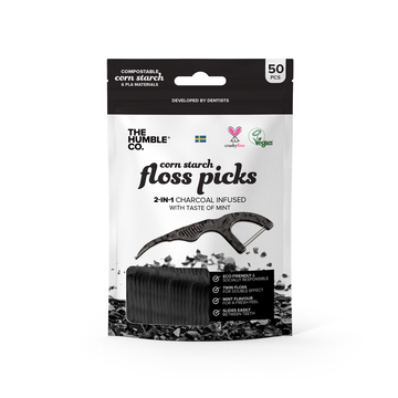 The Humble Co. Dental Floss Charcoal Picks 50-Pieces - 12 pack Promo